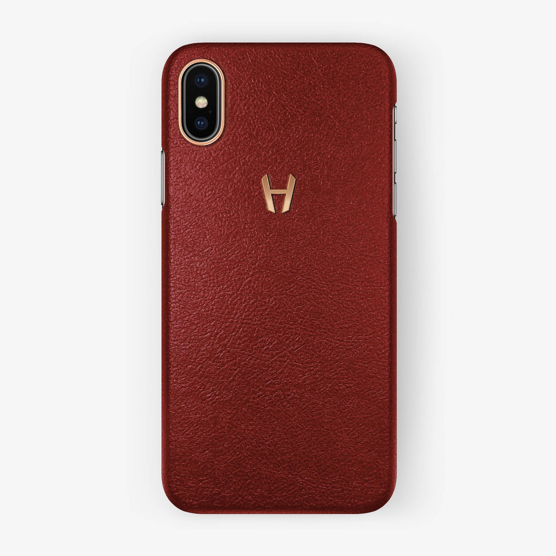 Calfskin Case iPhone X/Xs | Red - Rose Gold without-personalization