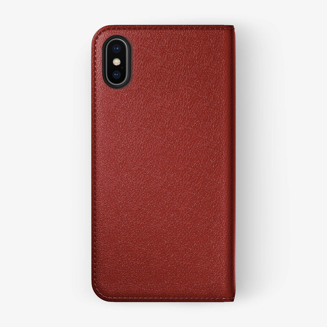 Calfskin Folio Case iPhone X/Xs | Red - Black without-personalization