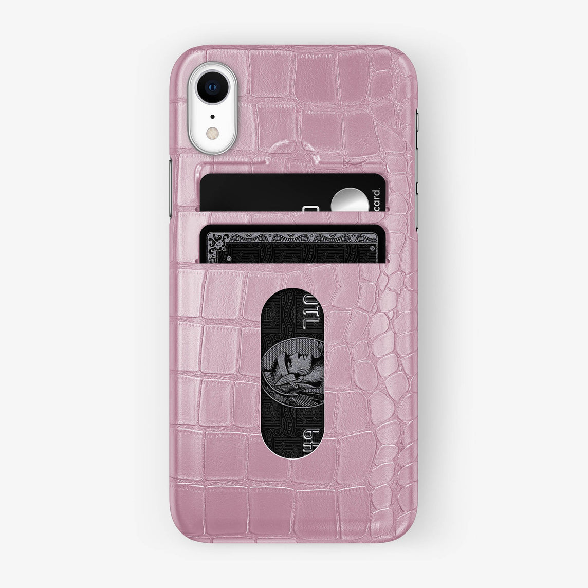Alligator Card Holder Case iPhone Xr | Pink - Stainless Steel