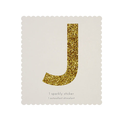 Gold Glitter Sticker - J