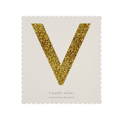 Gold Glitter Sticker - V
