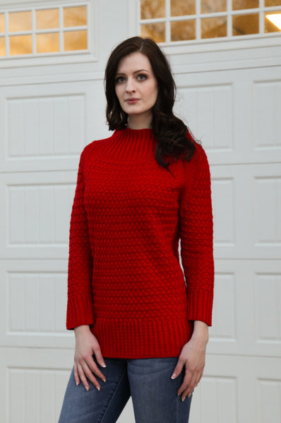 Basket Weave Sweater in Red