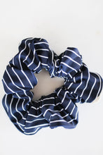 Load image into Gallery viewer, Swimmer Navy White Striped Scrunchie
