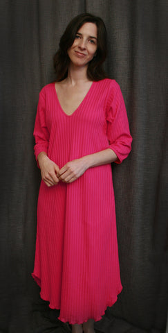 3/4 Sleeve V Neck Night Gown 100% Cotton Knit, Made In The USA