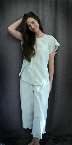 Short Sleeve Long Top & Palazzos Shadow Stripe Collection