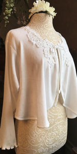 Cotton Bed Jacket Pointelle Knit