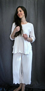 3/4 Sleeve Long Top & Palazzos Shadow Stripe Collection - Simple Pleasures, Inc.