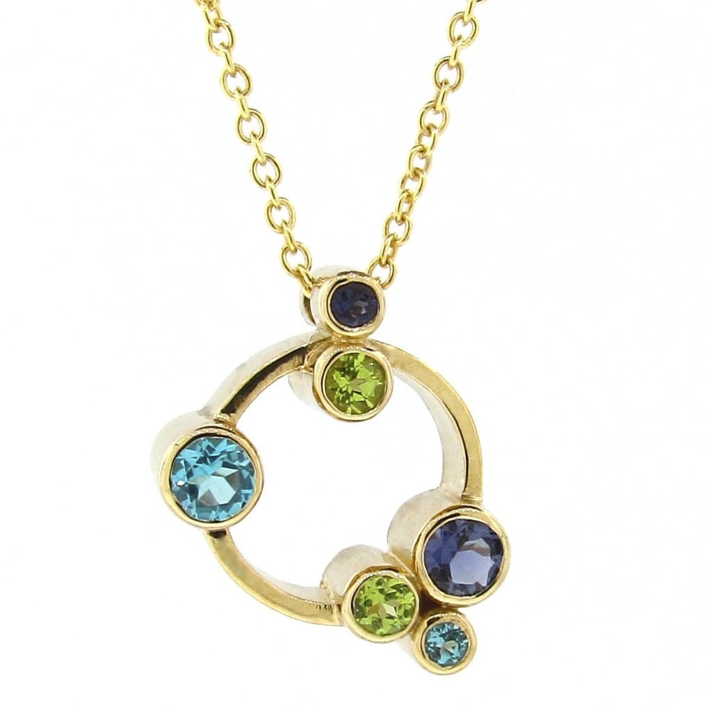 Yellow Gold Circle 'Bubbles' Pendant in Ocean colours