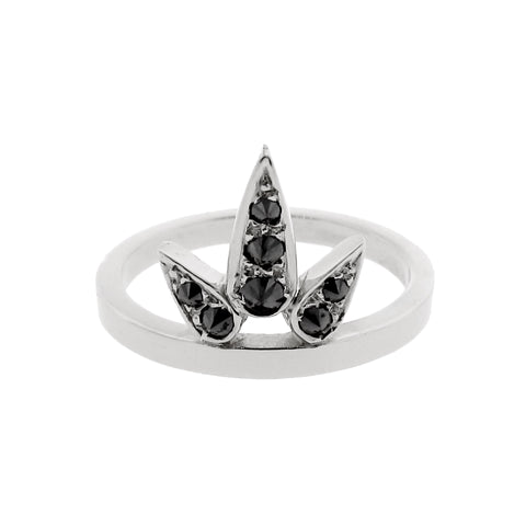 white gold black diamond small Lotus ring