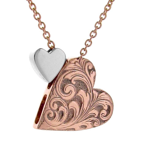 Rose Gold & Silver Engraved large 2 hearts Necklace