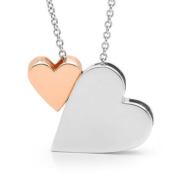 Sterling Silver & Rose Gold '2 Hearts' Necklace