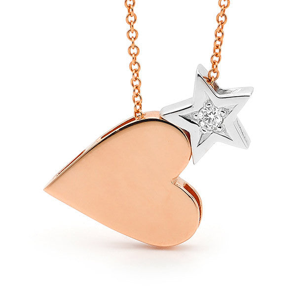 Rose and White Gold Diamond 'Baby Star' and 'Heart' Necklace