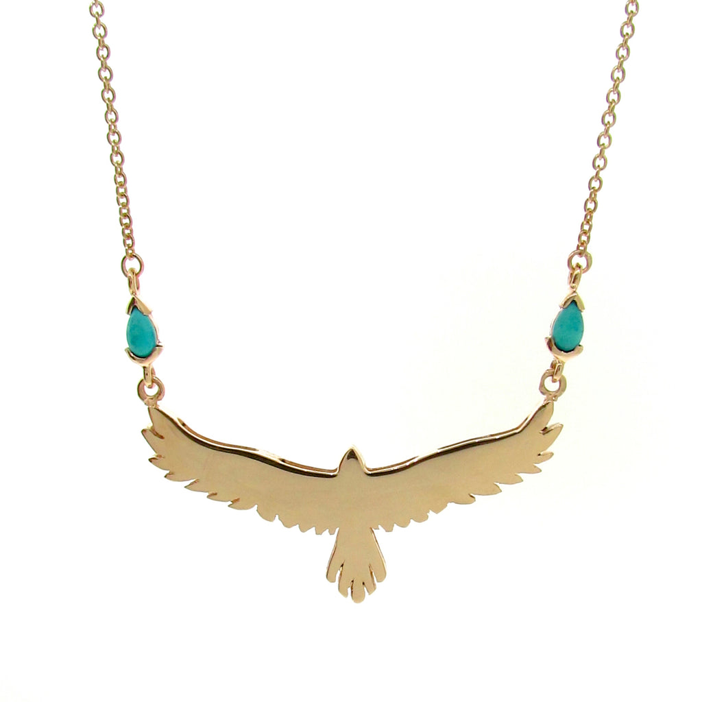 Yellow Gold Turquoise open-winged eagle necklace