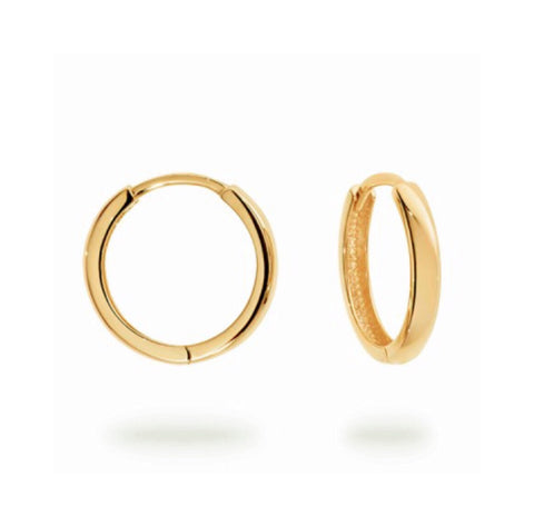 Medium Yellow Gold hinged Huggie Hoops