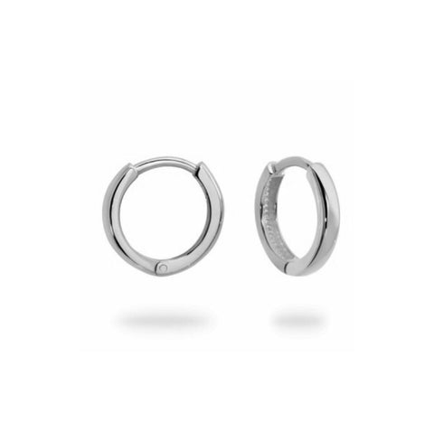 Small White Gold hinged Huggie Hoops