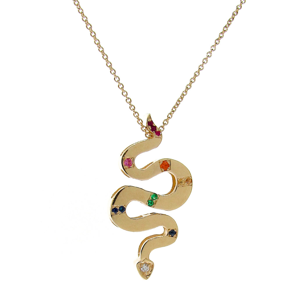 Yellow Gold Rainbow Serpent Necklace