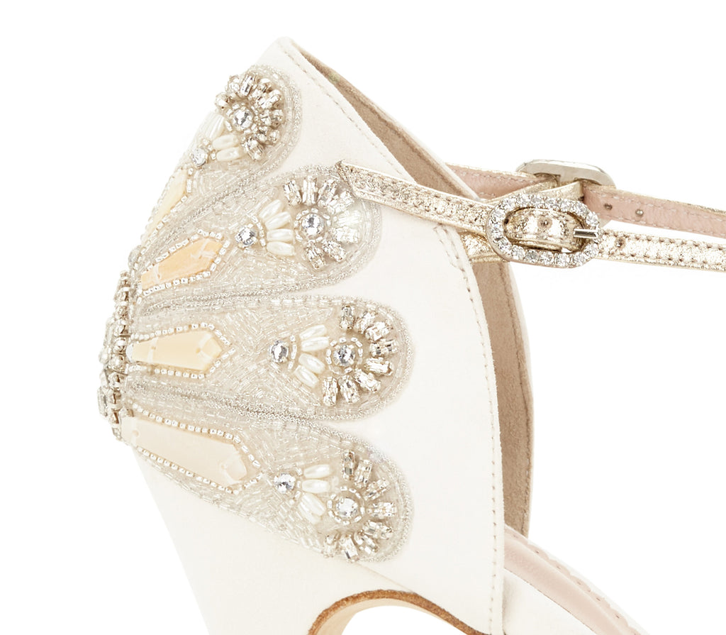 Georgette Ivory and Gold Embellished Wedding Shoes Designed by Emmy London