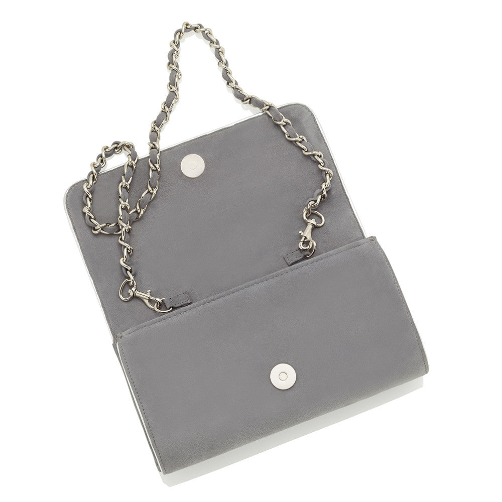Natasha Steel Grey Clutch Bag by Emmy London