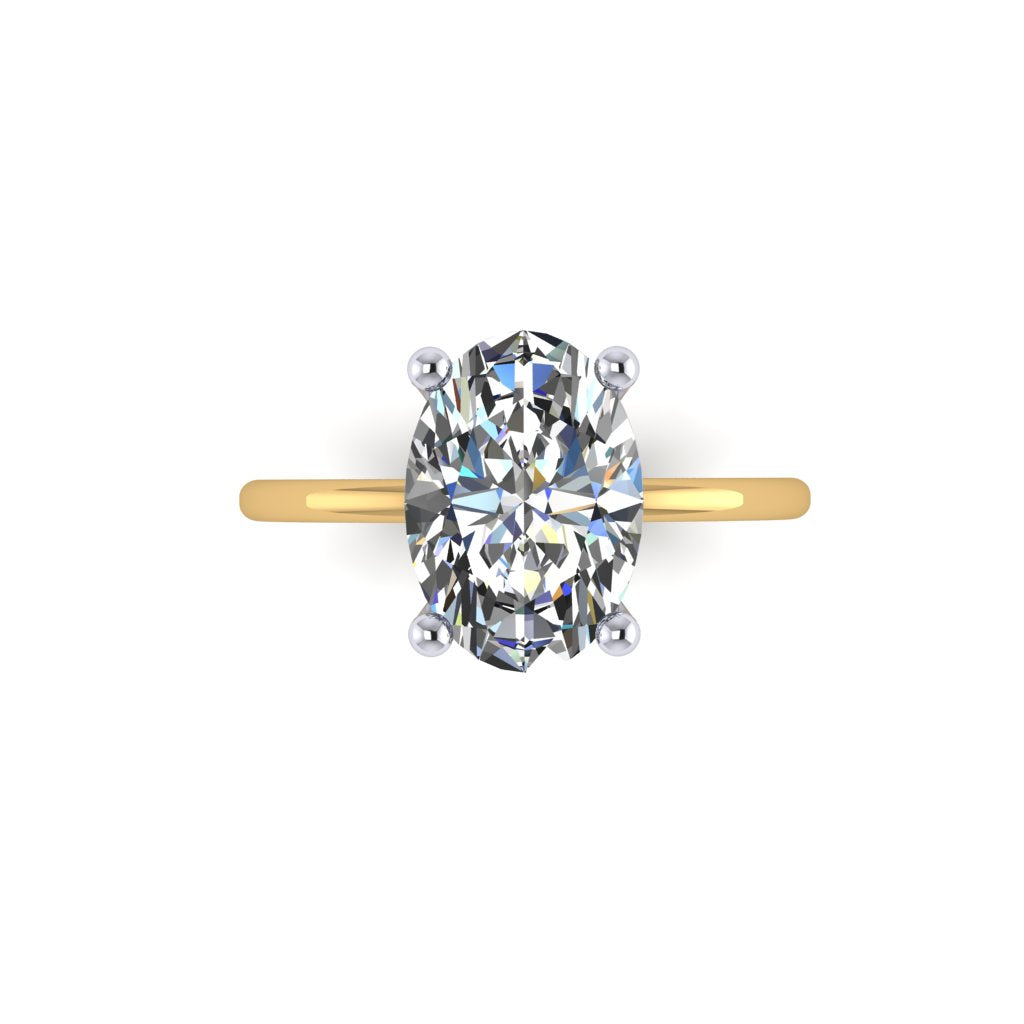 Oval Solitaire Diamond on Dainty Thin Shank