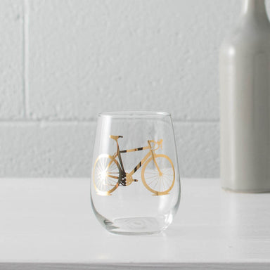 20K gold bicycle screen printed on a stemless wine glass