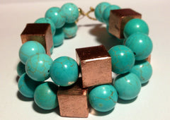 Turquoise Double-Strand Bracelet with Rose Gold Accents