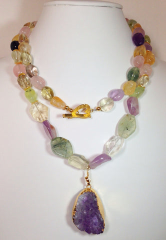 Amethyst, Citrine, Rose Quartz Necklace