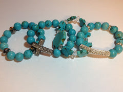 Blue Turquoise Stretch Bracelets with Silver Pave Accents