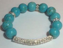 Blue Turquoise Stretch Bracelet with Silver Pave Center Bar