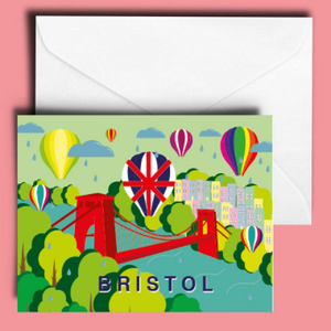A6 Clifton Suspension Bridge and Balloons in Summer Greetings Card by Adriana Barrios