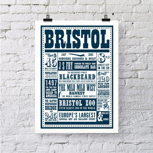 Bristol Facts Typographic A3 Art Print by Susan Taylor Art | The Bristol Shop