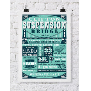 Clifton Suspension Bridge Facts in Teal, A3 Art Print by Susan Taylor Art | The Bristol Shop