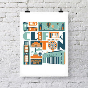 Clifton Bristol Typographic Print (A3) by Susan Taylor Art | The Bristol Shop