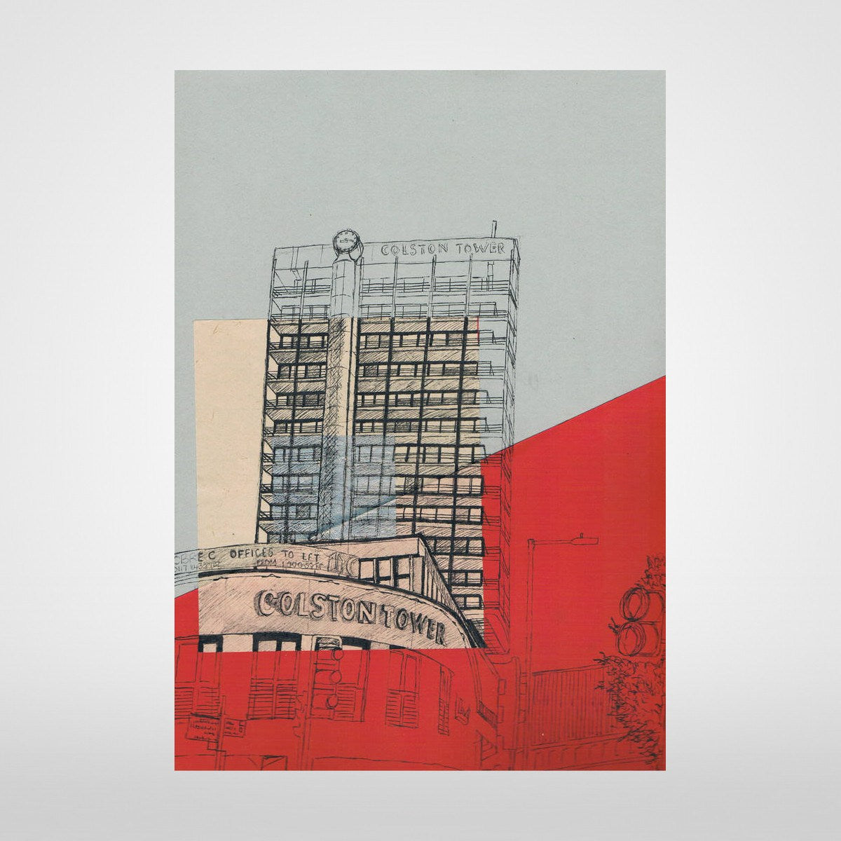 Colston Tower on Grey/Red Print by Lisa Malyon at The Bristol Shop