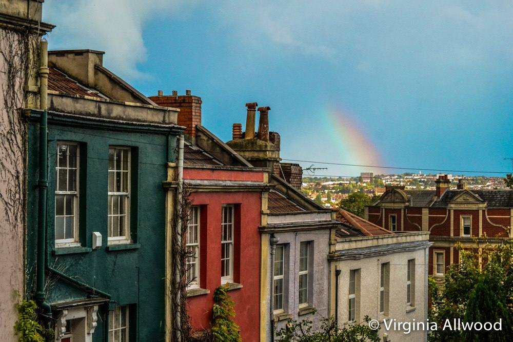 Rainbow Over Coloured Houses  - Photographic Print by Nina Allwood