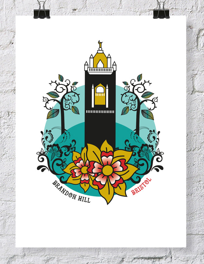 Bristol Brandon Hill Cabot Tower Print, A4 or A2 Print by Susan Taylor | The Bristol Shop