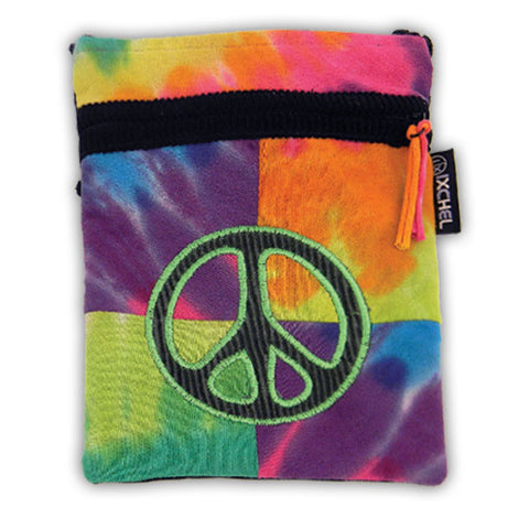 Tie Dyed Patchwork passport bag with Peace Sign Embroidery