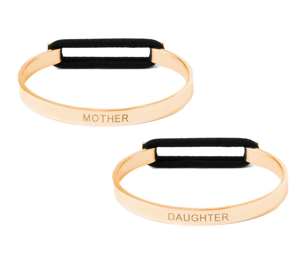 Mother Daughter Set - Skinny Cuff Elastic Bangle 14K Gold or .925 Silver Plated