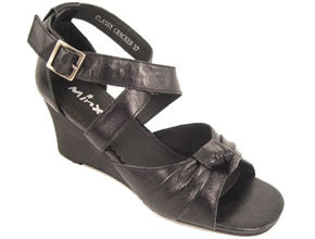 Minx Classy Cracker Womens Leather Wedge Sandals- Black