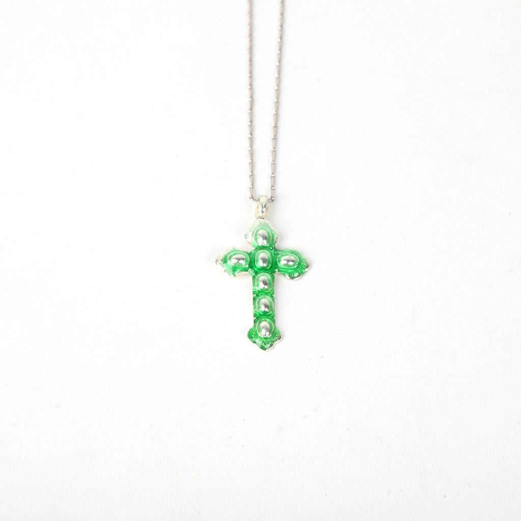 Old Style Religious Metal Cross - Green