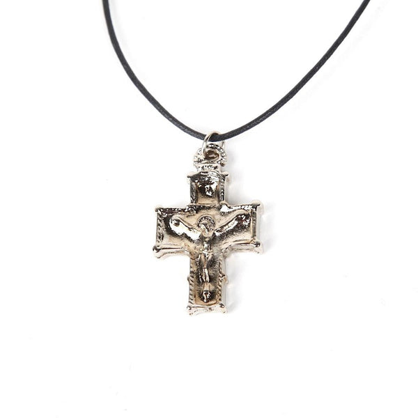 Greek Orthodox Metal Cross - Red