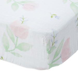 little unicorn Cotton Muslin Crib Sheet - Pink Peony - oh baby!