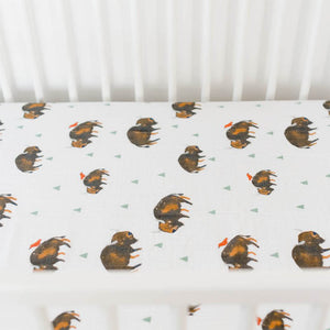 little unicorn Cotton Muslin Crib Sheet - Bison - oh baby!
