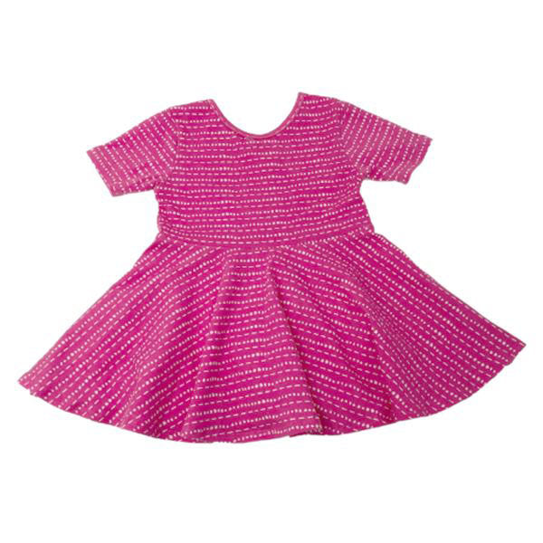 oh baby! Short Sleeve Printed Dress - Hot Pink with Dots & Dashes