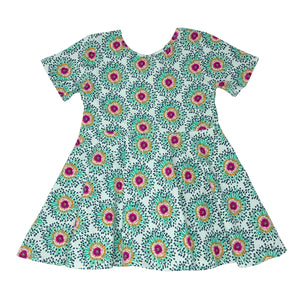 oh baby! Short Sleeve Printed Dress - Mint Green with Fuchsia Flowers