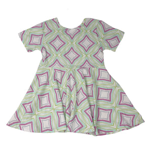 oh baby! Short Sleeve Printed Dress - Mint Green with Mod Diamonds