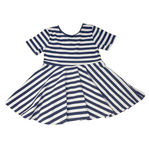 oh baby! Short Sleeve Printed Dress - Navy Stripe