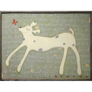 Sugarboo Girl Dog Art Print Framed In Vintage Wood - oh baby!