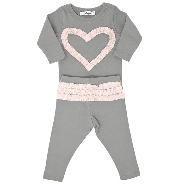 oh baby! Two Piece Set - Ruffle Heart Pale Pink - Cream