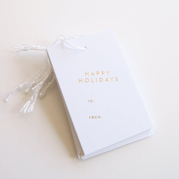 Happy Holidays - Gold Foil Gift Tags