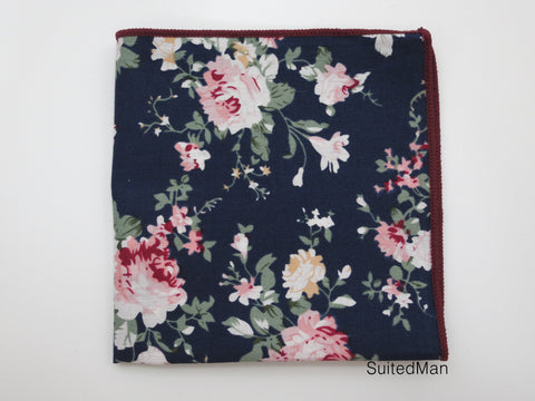 Pocket Square, Navy Peach Floral